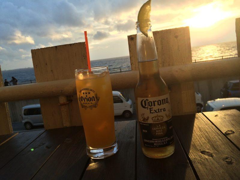 夕日とビール